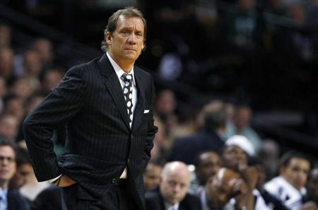 Washington Wizards coach Flip Saunders reacts after a foul is called against his team in the second half of their NBA basketball game against the Boston Celtics in Boston, Massachusetts November 17, 2010. REUTERS/Brian Snyder