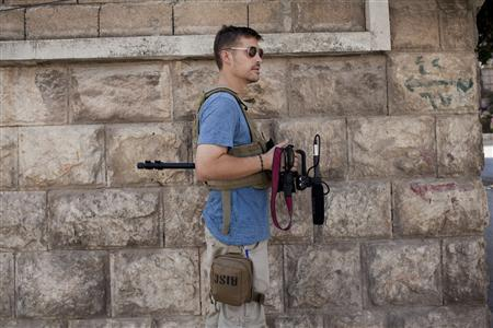 U.S. journalist James Foley is pictured in Aleppo, Syria in August 2012, in this family photo released to Reuters on May 3, 2013. Photo courtesy Foley family by Nicole Tung/Handout via Reuters