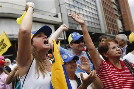 Supporters of Venezuela's opposition leader Henrique Capriles gesture as they attend a May Day rally in Caracas May 1, 2013. REUTERS/Marco Bello