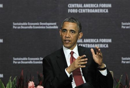 U.S. President Barack Obama speaks during a forum on Inclusive Economic Growth and Development hosted by INCAE, a Costa Rican business school, and the Inter-American Development Bank, in San Jose May 4, 2013. REUTERS/Juan Carlos Ulate