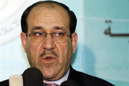 Iraq's Prime Minister Nuri al-Maliki speaks during a joint news conference with Iraqi parliament speaker Osama al-Nujaifi in Baghdad December 20, 2010(File photo). REUTERS/Mohammed Ameen