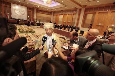 Oman's Minister of Financial Affairs Darwish Ali Al Balushi speaks to members of the media during the first day of the Arab Finance Ministers summit meeting in Dubai, April 2, 2013. REUTERS/Jumana El Heloueh