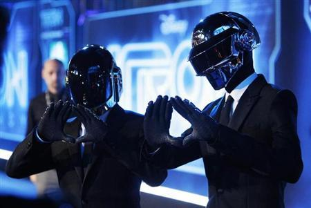Musicians Thomas Banglater and Guy-Manuel de Homem-Christo of Daft Punk pose at the world premiere of the film ''TRON: Legacy'' in Hollywood, California, December 11, 2010 file photo. REUTERS/Danny Moloshok