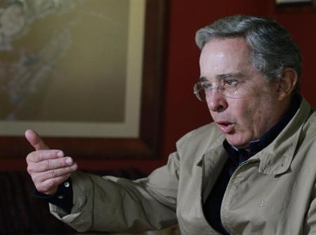 Colombia's former President Alvaro Uribe speaks during a Reuters interview at his farm house in Rionegro close to Medellin September 10, 2012. Picture taken September 10, 2012. REUTERS/Albeiro Lopera