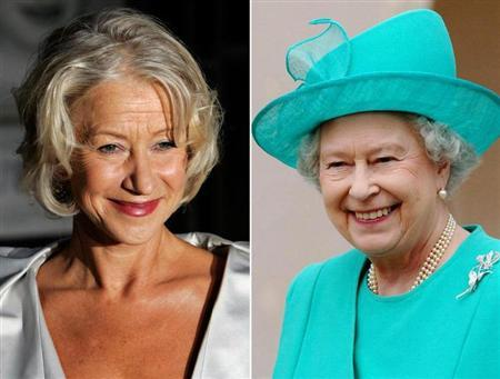 A combination photograph shows British actress Helen Mirren arriving for the British premiere of ''The Queen'' at the Curzon Mayfair cinema in London September 13, 2006 and Britain's Queen Elizabeth II leaving after attending the traditional Easter Sunday Service at St George's Chapel in Windsor Castle April 16, 2006. REUTERS/Staff