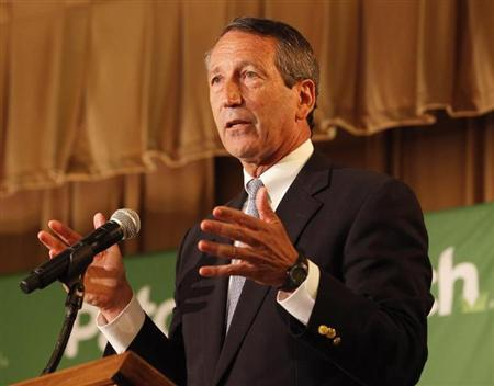 Former South Carolina Governor Mark Sanford makes a point during the debate with Democrat Elizabeth Colbert Busch for the South Carolina 1st Congressional district in Charleston, South Carolina April 29, 2013. REUTERS/Randall Hill