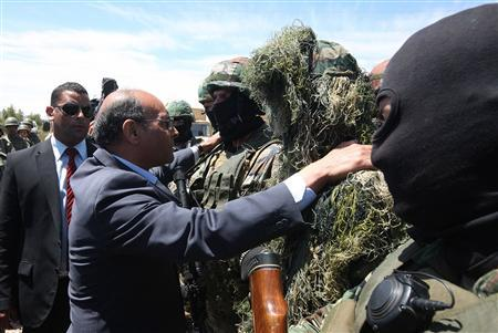 Tunisia's President Moncef Marzouki speaks to soldiers during a visit near the border with Algeria in Mount Chambi in the west of Tunisia May 7, 2013.Tunisian Presidency/Handout via Reuters