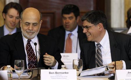 Treasury Secretary Jack Lew (R) and Chairman of the Federal Reserve Bank Ben Bernanke (L) attend the Treasury Department's Financial Stability Oversight Council in Washington April 25, 2013. REUTERS/Gary Cameron