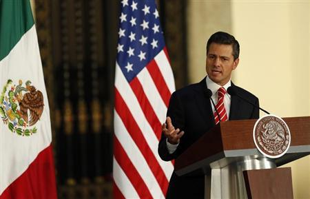 Mexican President Enrique Pena Nieto speaks during a joint news conference with U.S. President Barack Obama at the Palacio Nacional in Mexico City May 2, 2013. REUTERS/Kevin Lamarque