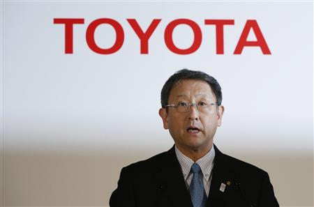 Toyota Motor Corp President Akio Toyoda attends a news conference, which the company announced its financial results, in Tokyo May 8, 2013. REUTERS/Yuya Shino