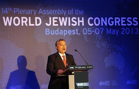 Hungarian Prime Minister Viktor Orban delivers a speech during the 14th Plenary Assembly of the World Jewish Congress in Budapest May 5, 2013. REUTERS/Laszlo Balogh