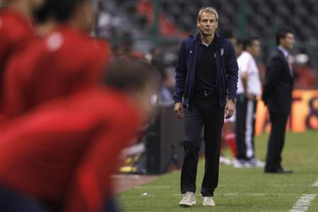 U.S. coach Juergen Klinsmann is seen during the second half of their soccer friendly match against Mexico at Azteca stadium in Mexico City, August 15, 2012. REUTERS/Edgard Garrido