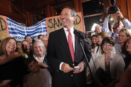 Former South Carolina Governor Mark Sanford celebrates his victory with a large crowd in the South Carolina first district congressional race at Liberty Tap Room in Mount Pleasant, South Carolina May 7, 2013. REUTERS/Randall Hill