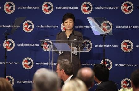 South Korean President Park Geun-hye addresses the U.S. The Chamber of Commerce in Washington May 8, 2013. REUTERS/Yuri Gripas