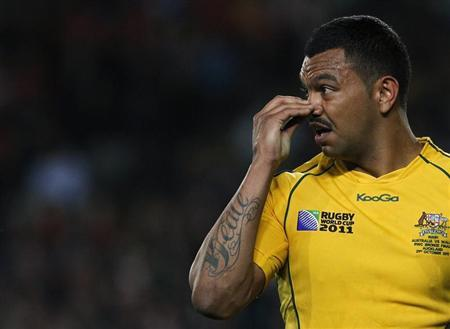 Australia Wallabies' Kurtley Beale reacts during their Rugby World Cup third place play-off match against Wales at Eden Park in Auckland October 21, 2011 (File photo). REUTES/Mike Hutchings REUTERS/Mike Hutchings