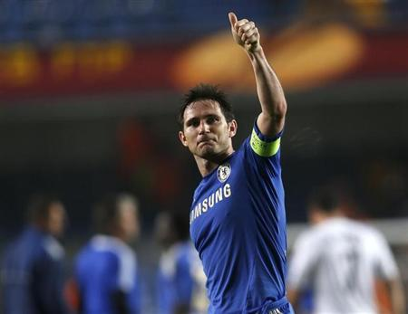 Chelsea's Frank Lampard celebrates after winning against FC Basel in their Europa League semi-final second leg soccer match at Stamford Bridge in London May 2, 2013. REUTERS/Eddie Keogh