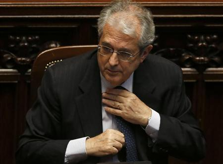 New Italian Economy Minister Fabrizio Saccomanni gestures at the Lower house of the parliament in Rome, April 29, 2013. REUTERS/ Alessandro Bianchi