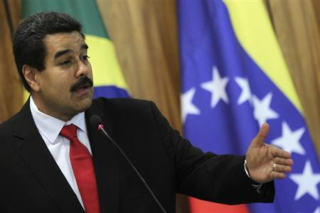 Venezuela's President Nicolas Maduro delivers a statement to the media with Brazil's President Dilma Rousseff at the Planalto Palace in Brasilia May 9, 2013. REUTERS/Ueslei Marcelino