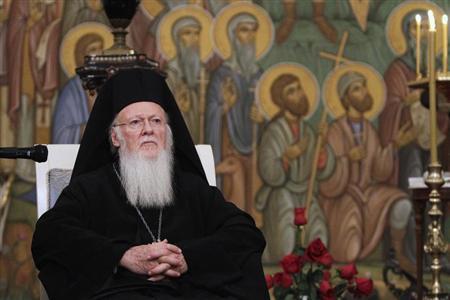 Greek Orthodox Ecumenical Patriarch Bartholomew I attends a meeting with Georgian Orthodox Patriarch Ilia II in Tbilisi, January 10, 2013. REUTERS/David Mdzinarishvili
