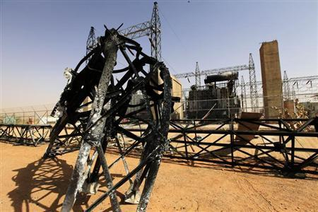 A power station damaged during attacks by insurgents who stormed the city, is pictured in Um Rawaba May 2, 2013. REUTERS/Mohamed Nureldin Abdallah