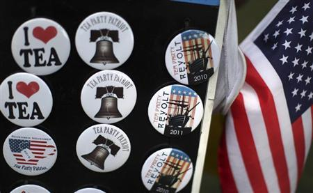 Merchandise is seen at a rally for the Tea Party Express in Cedar Rapids, Iowa, September 1, 2011. REUTERS/Jim Young