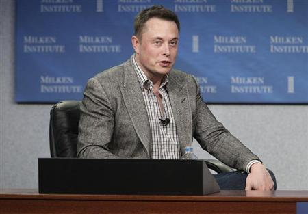 CEO of Tesla Motors and SpaceX Elon Musk speaks during a session titled ''To Infinity and Beyond: Jeff Skoll talks with Elon And Kimbal Musk'' at the Milken Institute Global Conference in Beverly Hills, California April 29, 2013. REUTERS/Fred Prouser