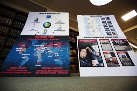 Charts showing information related to eight members belonging to a New York-based cell of a global cyber criminal organization are displayed at a news conference in New York, May 9, 2013. REUTERS/Lucas Jackson