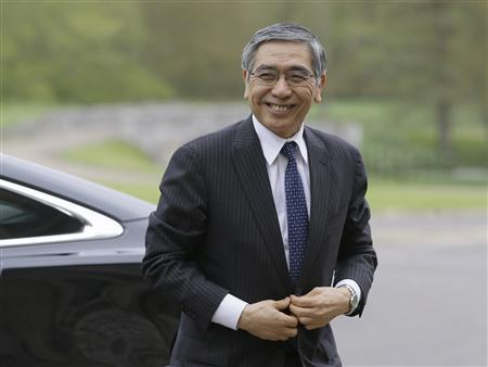 Bank of Japan Governor Haruhiko Kuroda arrives at the G7 Finance Ministers meeting in Aylesbury, southern England May 10, 2013. REUTERS/Alastair Grant/Pool