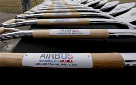 Ceremonial shovels with Airbus logo are on display before a ground breaking ceremony for its first U.S. assembly plant in Mobile, Alabama April 8, 2013. REUTERS/Lyle Ratliff