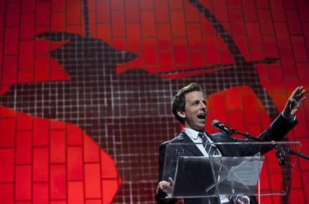 TV Personality Seth Meyers speaks at the Robin Hood Foundation Benefit at the Jacob K Javits Convention Center in New York May 14, 2012 file photo. REUTERS/Andrew Kelly