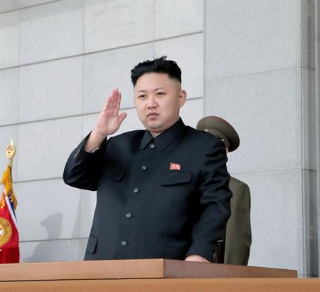 North Korean leader Kim Jong-un gestures during a ceremony marking the 81st anniversary of the founding of the Korean People's Army (KPA) at the plaza of the Kumsusan Palace of the Sun in Pyongyang April 25, 2013, in this photo distributed by North Korea's official Korean Central News Agency (KCNA) on April 26, 2013. REUTERS/KCNA