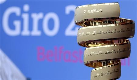 The Giro d'Italia trophy is seen on display at the Titanic Centre in Belfast February 21, 2013. The 2014 Giro d'Italia will start in Belfast on May 10, with stages on both sides of the Irish border. REUTERS/Cathal McNaughton
