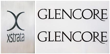 A combination photo shows the logo of Glencore (R) in front of the company's headquarters in the Swiss town of Baar and the logo of Swiss mining company Xstrata (L) at their headquarters in Zug, both pictures taken November 13, 2012. REUTERS/Michael Buholzer