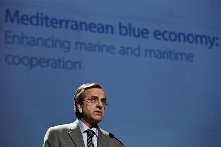 Greece's Prime Minister Antonis Samaras addresses the audience during the 12th Facility for Euro-Mediterranean Investment and Partnership (FEMIP) conference on ''Mediterranean blue economy:enhancing marine and maritime cooperation'' in Athens April 18, 2013. REUTERS/Yorgos Karahalis