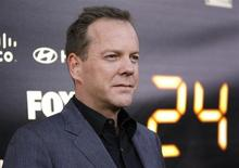 "Cast member Kiefer Sutherland poses at the party for the television series finale of ""24"" in Los Angeles April 30, 2010. REUTERS/Mario Anzuoni"