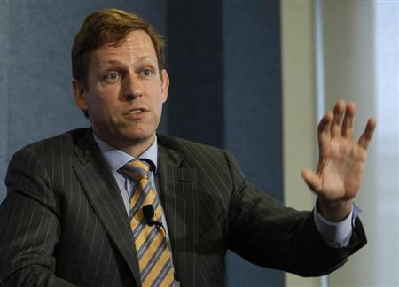 Peter Thiel, entrepreneur and co-founder of PayPal, speaks during a news conference on ''nonprofit, nonpartisan organization dedicated to economic research and innovative public policies for the 21st century'' at the National Press Club in Washington October 3, 2011. REUTERS/Yuri Gripas