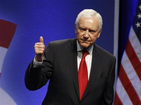Sen. Orrin Hatch (R-UT) gestures after speaking to an audience at the 38th annual Conservative Political Action Conference meeting at the Marriott Wardman Park Hotel in Washington, February 11, 2011. REUTERS/Larry Downing