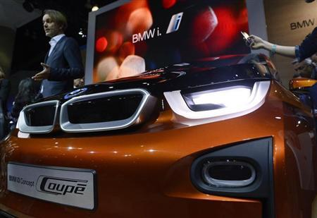 The BMW i3 concept car is displayed during a news conference at the 2012 Los Angeles Auto Show in Los Angeles, California November 28, 2012. REUTERS/Phil McCarten
