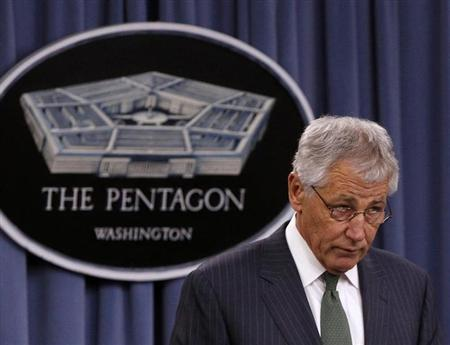 U.S. Defense Secretary Chuck Hagel is seen in a news conference at the Pentagon in Washington, May 2, 2013. REUTERS/Gary Cameron