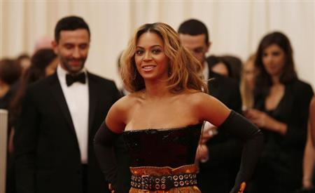 Singer Beyonce arrives at the Metropolitan Museum of Art Costume Institute Benefit celebrating the opening of ''PUNK: Chaos to Couture'' in New York, May 6, 2013. REUTERS/Lucas Jackson