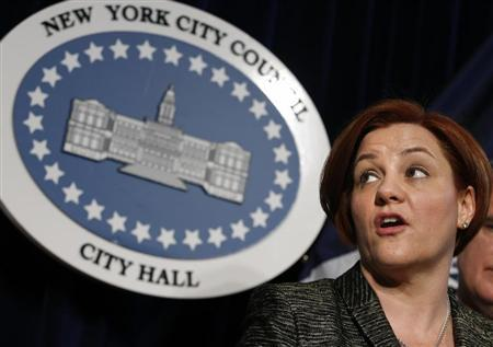New York City Council Speaker Christine Quinn speaks during a news conference to announce the legislation to increase the minimum age for buying cigarettes to 21 at City Hall in New York April 22, 2013. REUTERS/Brendan McDermid