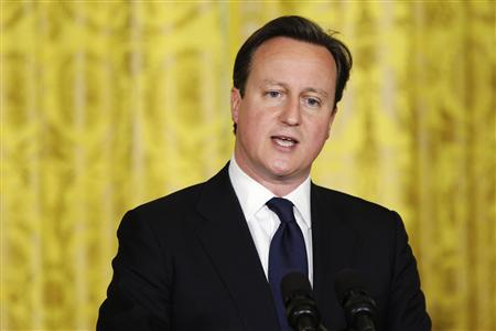 Britain's Prime Minister David Cameron responds to a question during a joint news conference with U.S. President Barack Obama in the East Room at the White House in Washington, May 13, 2013. REUTERS/Jonathan Ernst