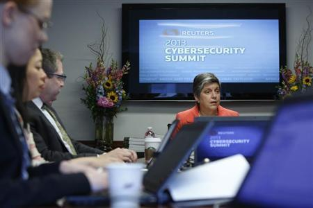 U.S. Homeland Security Secretary Janet Napolitano sits down with reporters for the Reuters Cybersecurity Summit in Washington, May 14, 2013. REUTERS/Jonathan Ernst