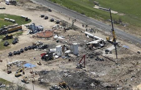 The site of a fertilizer plant explosion in West, Texas is pictured from the air as U.S. President Barack Obama and First Lady Michelle Obama (not pictured) assess the damage from Marine One April 25, 2013, on their way to a memorial service, for the victims who died, at Baylor University in Waco. REUTERS/Jason Reed