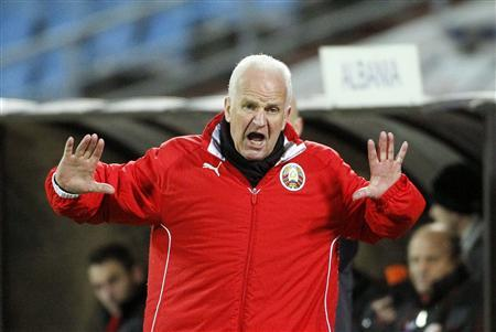 Belarus' coach Bernd Stange reacts during their Euro 2012 soccer qualifying match against Albania at Dinamo stadium in Minsk, October 12, 2010. REUTERS/Vasily Fedosenko