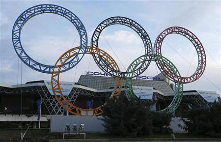 The Olympic rings are seen in front of the airport of Sochi, the host city for the Sochi 2014 Winter Olympics, February 18, 2013. REUTERS/Kai Pfaffenbach/Files