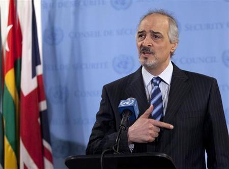 Bashar Ja'afari, Syria's ambassador to the United Nations speaks to the media after a Security Council meeting at the United Nations in New York April 14, 2012. REUTERS/Allison Joyce