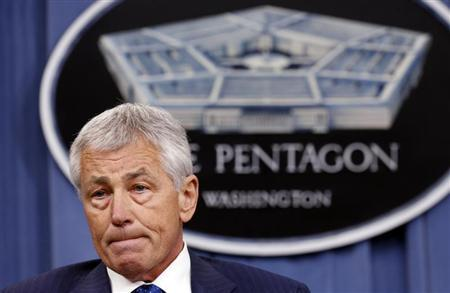 U.S. Defense Secretary Chuck Hagel listens to a question during a briefing on the Defense Department's FY2014 budget at the Pentagon in Washington April 10, 2013. REUTERS/Kevin Lamarque