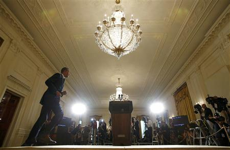 President Barack Obama takes the stage to deliver a statement in the East Room of the White House in Washington, May 15, 2013. REUTERS/Kevin Lamarque