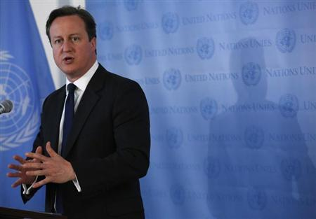 British Prime Minister David Cameron speaks during a news conference at the United Nations headquarters in New York May 15, 2013. REUTERS/Brendan McDermid